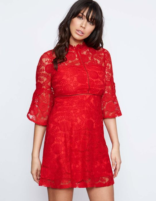 Only £9.99 on the Sale! HARTLEY Red Frill Sleeve Lace Dress