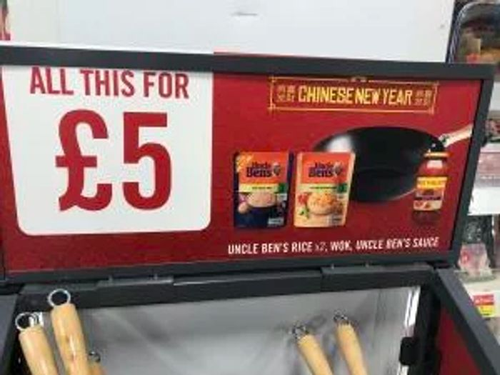 Iceland Chinese New Year Offer - 2x Uncle Bens Rice, 1 Uncle Bens Sauce & Wok £5