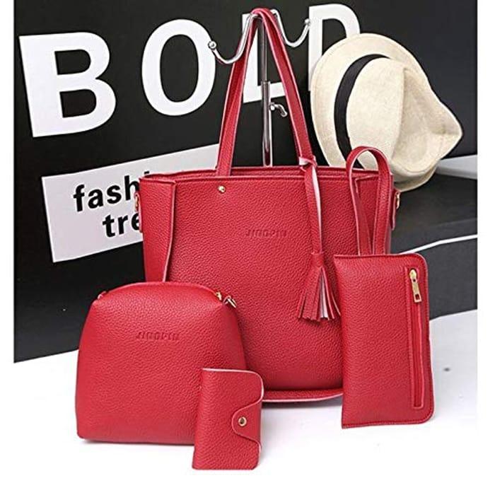 172ec096a856 Fashion Women Shoulder Bags Tote Bag Top Handle Satchel Hobo Purse Set    4pcs