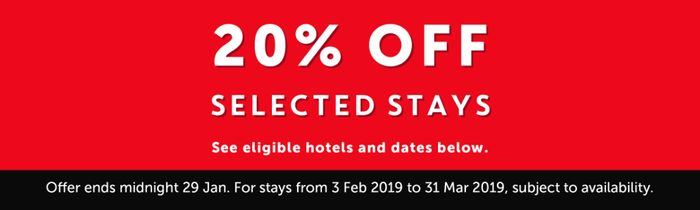 20% off Selected Stays at Travelodge in Feb & March