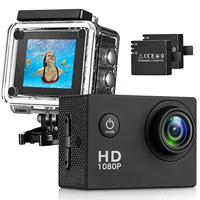 140 Wide Angle Lens Full HD 2 Inch LCD 30m Waterproof Screen Action Camera
