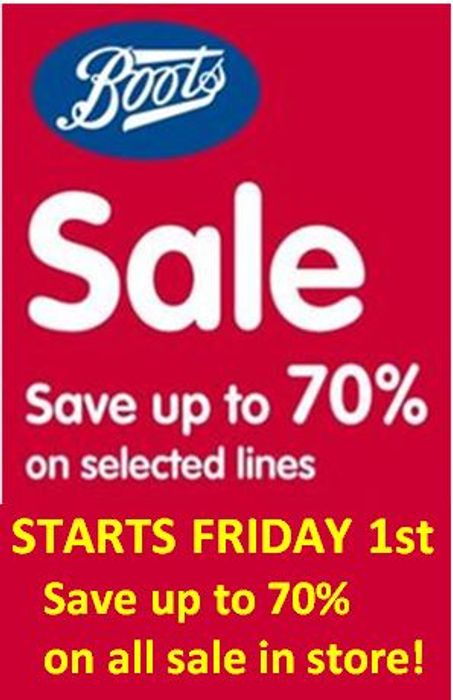 Boots 70% Sale Is On!