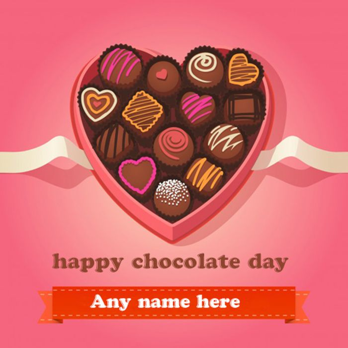 Free Happy Chocolate Wishes Greeting Card Pic with Name