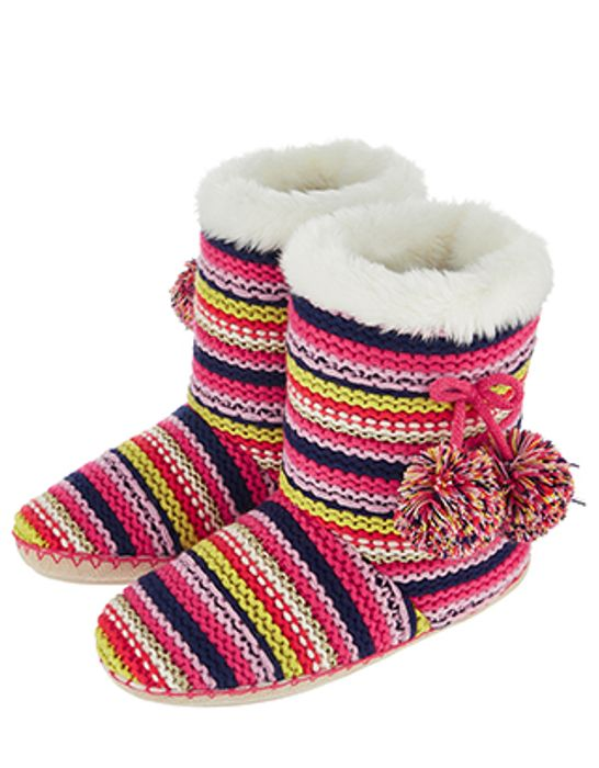 Knitted Multi-Stripe Boot Slippers