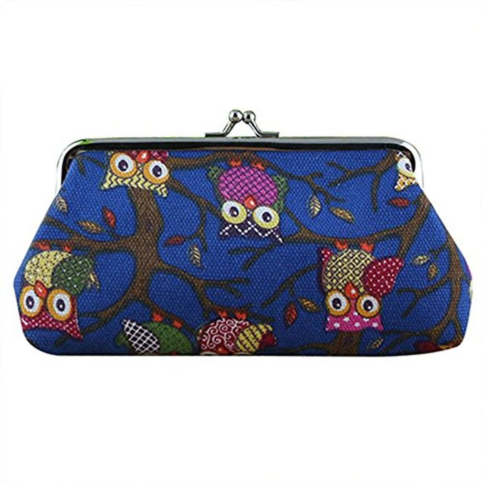 Canvas Owl Print Coin Purse with Free Delivery!