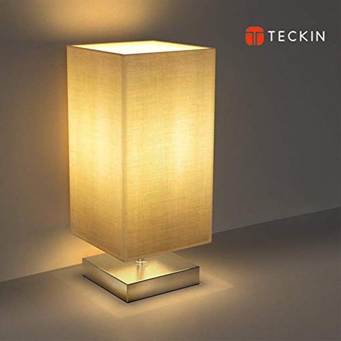 Bedside Table Lamp,TECKIN Minimalist Linen Bedroom Light - 25% Less!