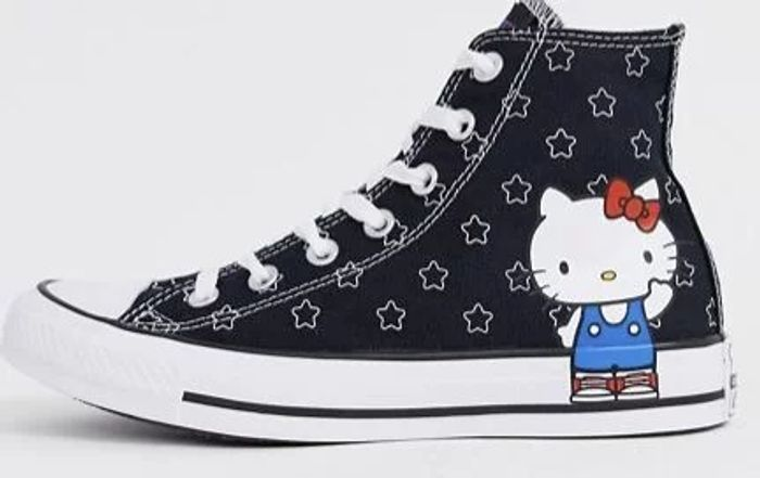*HALF PRICE Converse X Hello Kitty Chuck Taylor Hi Star Print Trainers Sizes 3>9