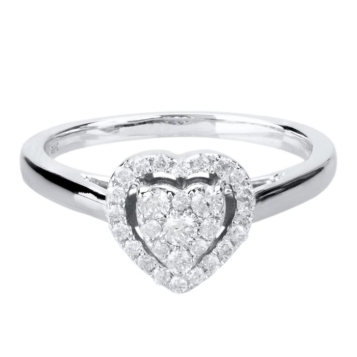 9CT White Gold Pave Diamond Halo Cluster Heart Ring + Free Gift - HALF PRICE