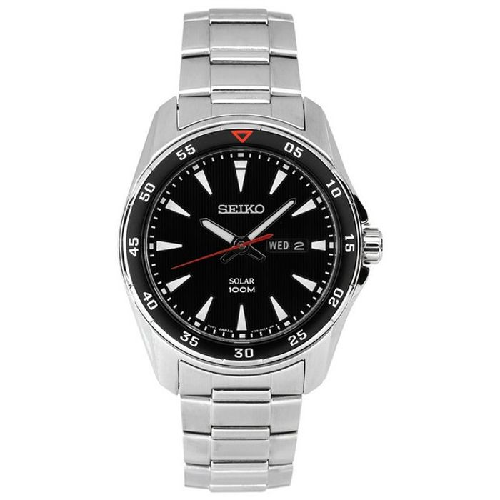 Seiko Men's Silver Steel Solar Powered Sports Watchby - Save 45%