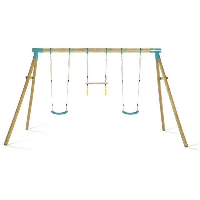 Plum Mangabey Wooden Swing Set with Trapeze & Double Swing Clearance