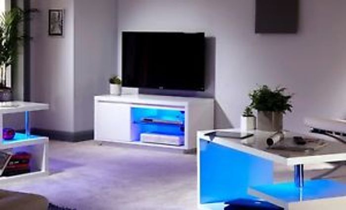 White Gloss Living Room Furniture Tv Stand Coffee Table