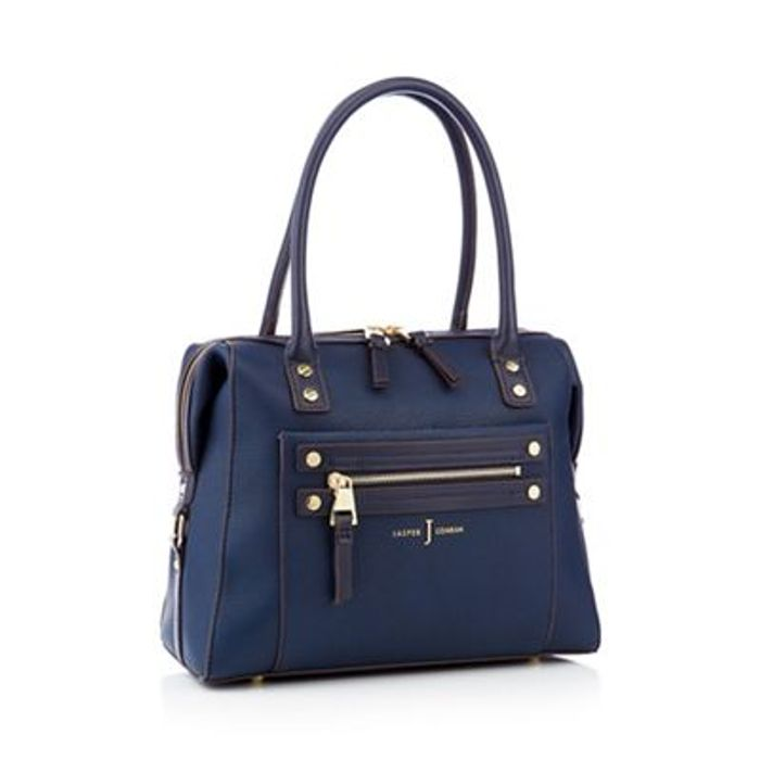 J by Jasper Conran - Navy Studded Zip Detail Bowler Bag