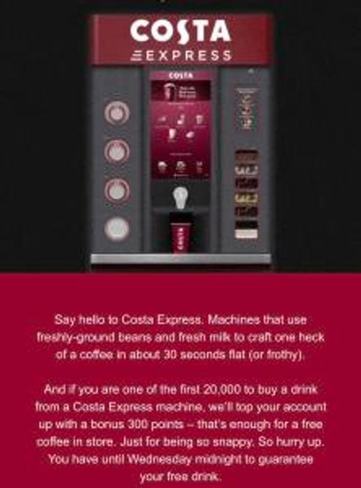 Free Costa 300 Point Top up with Costa Coffee Machines