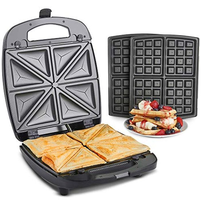 VonShef 2 in 1 Waffle Maker and Sandwich Toaster