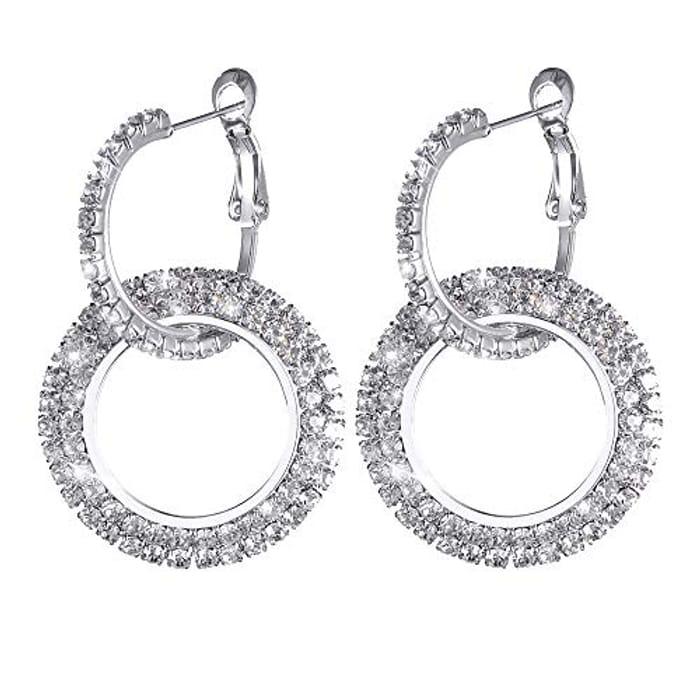 Diamond Sparkly Crystal Hoop Earrings
