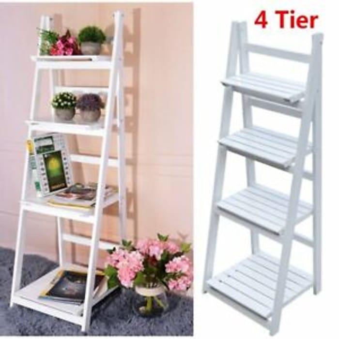 Vintage White Ladder Bookcase 4 Tier Flower Rack Room Display Storage Shelf