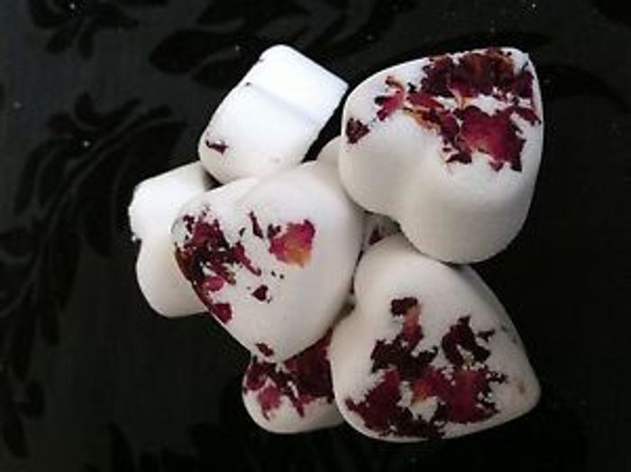 10 Rose Heart Bath Bombs with Rose Petals