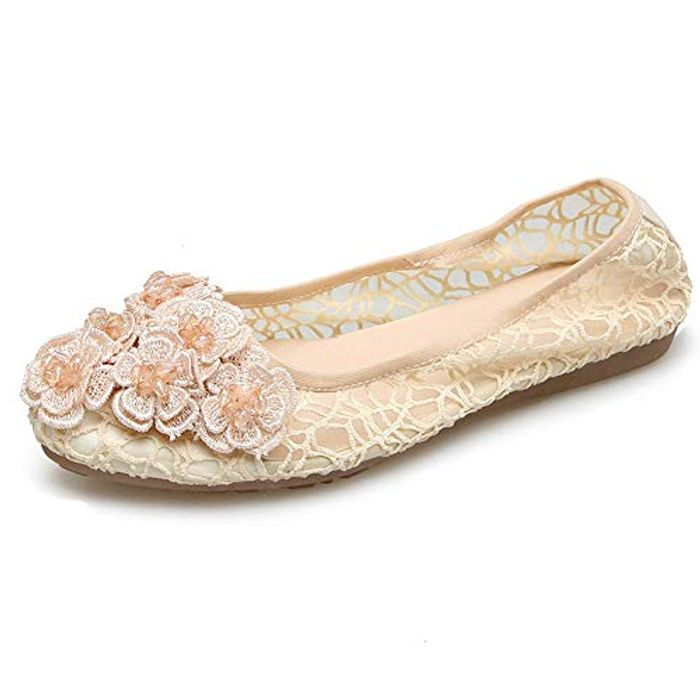 Comfortable Knit Hollow out Lace Ballet Flats