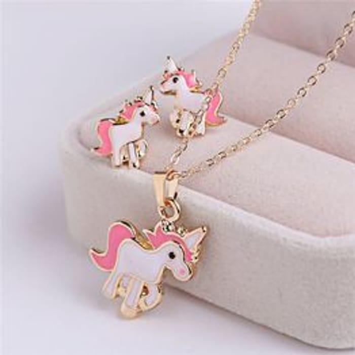 Set of Necklace Earrings Pink Cartoon Horse Unicorn