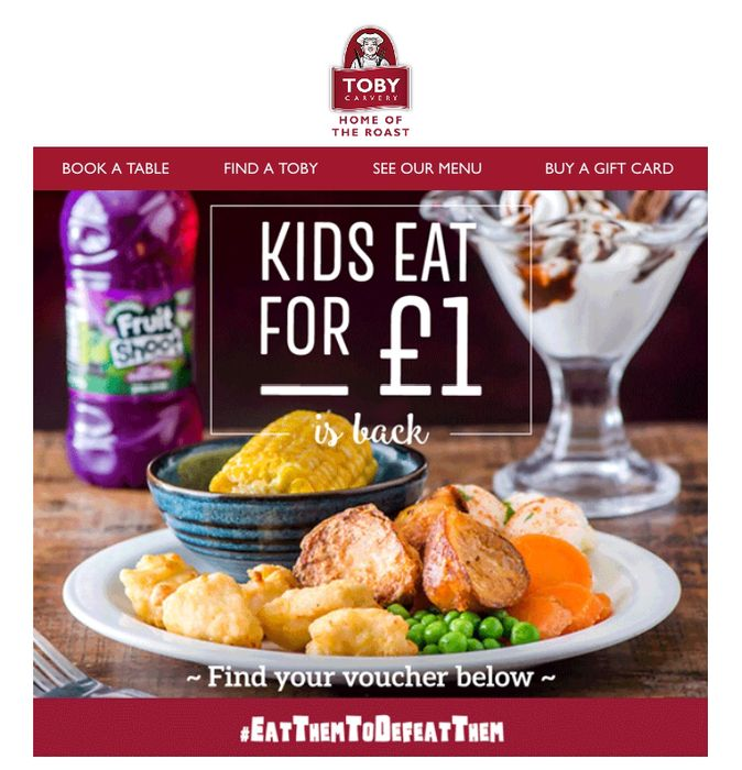 Kids Eat for £1 at Toby Carvery This Half Term with a Paying Adult