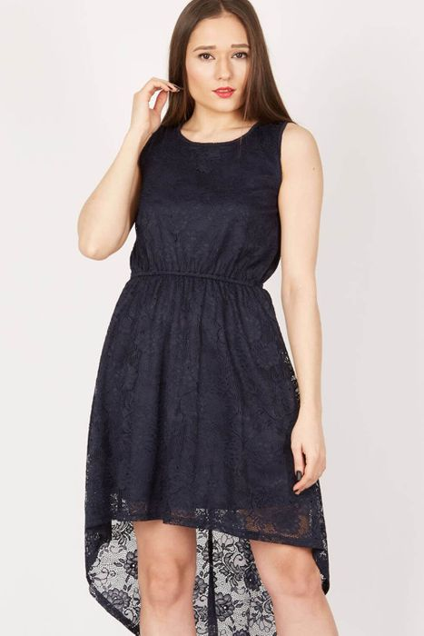 Navy Izabel London Lace Asymmetric Dress