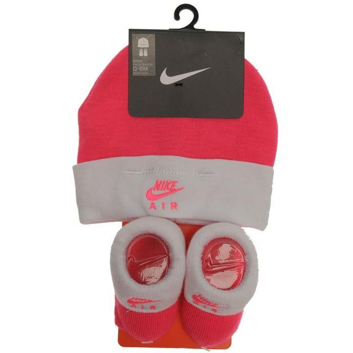 5c83430340d21 Baby Girl Nike Hat and Booties Set