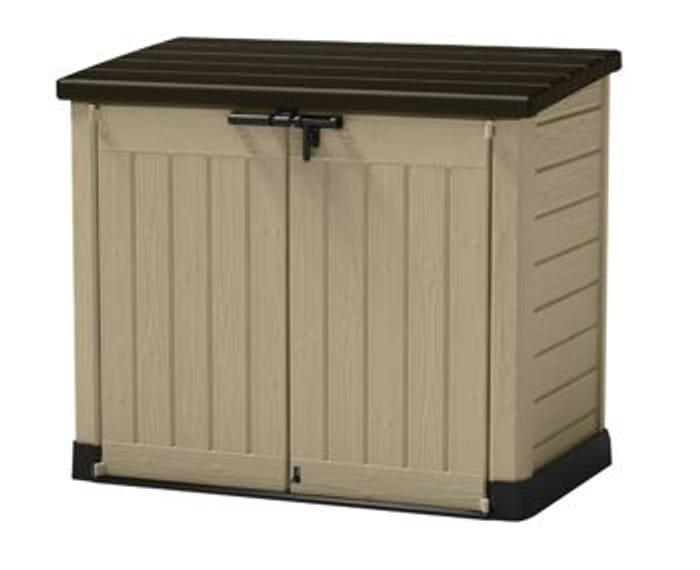 Cheap Keter Store It out Max Plastic Garden & Wheelie Bin Storage Beige & Brown
