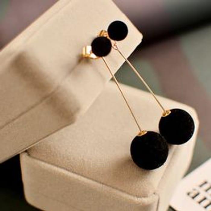 Fur Ball Drop Earrings for Women Long Earrings