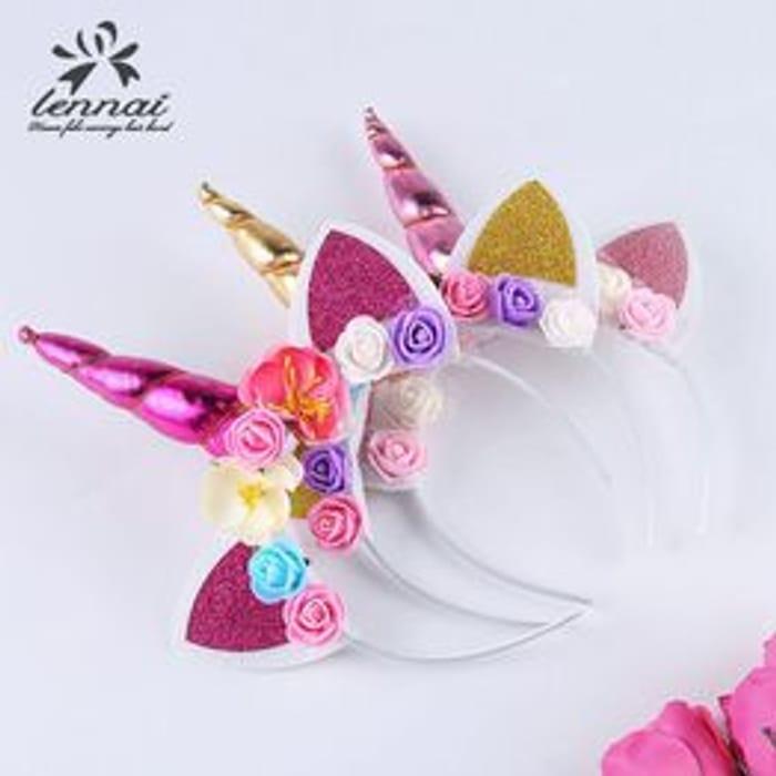 Magical Unicorn Horn Floral Head Party Kid Headband
