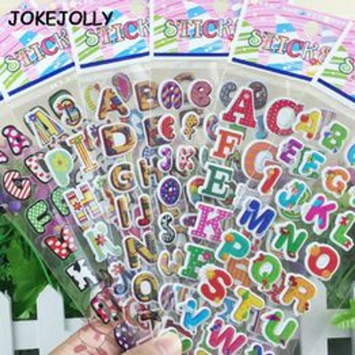 5 Sheets/lot Numbers or English Letters Bubble Stickers