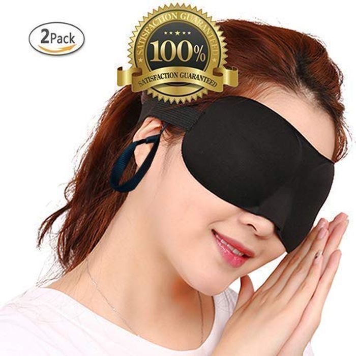 2 Pack Eye Mask with Ear Plugs Sleeping Mask Black Color Lightweight