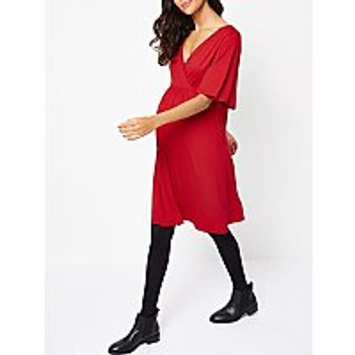 Stylish Red Maternity Wrap Dress