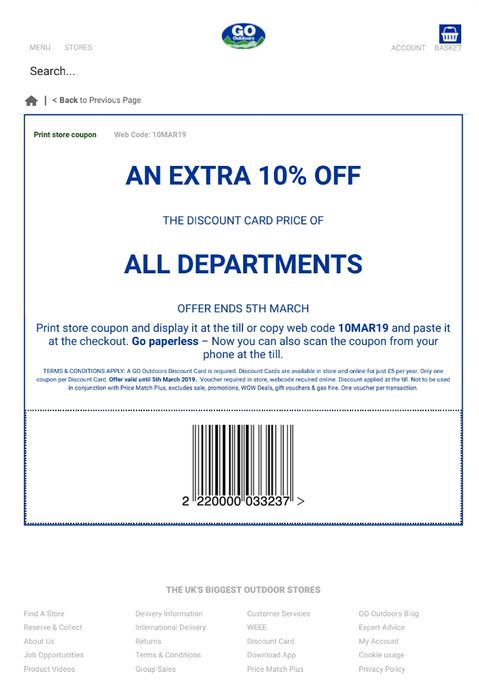 Extra 10% off the Discount Card Price at GoOutdoors