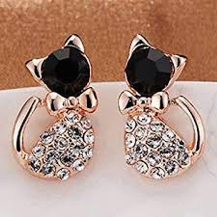 Crystal Cat Stud Earrings- Free P&P