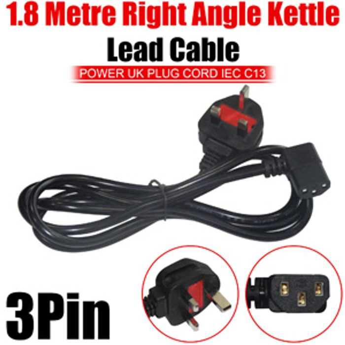 Excellent Right Angle Kettle Lead Cable Uk Plug Iec Cord C13 3 Pin 1 8M 3 19 Wiring Cloud Strefoxcilixyz