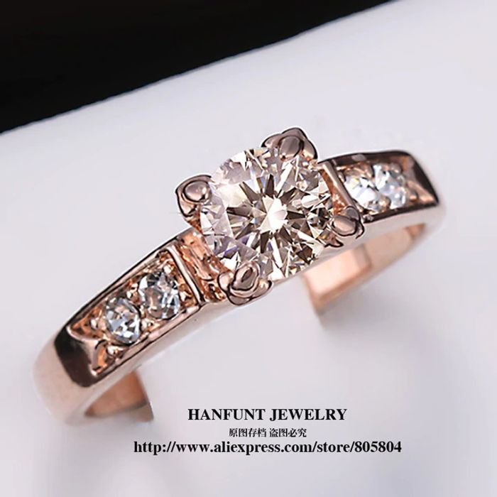 Rose Gold Color Solitaire Rhinestones Ring