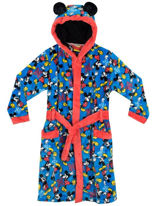 Boys Mickey Mouse Hooded Dressing Gown