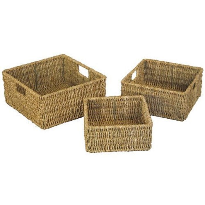 3 Natural Seagrass Square Storage Baskets