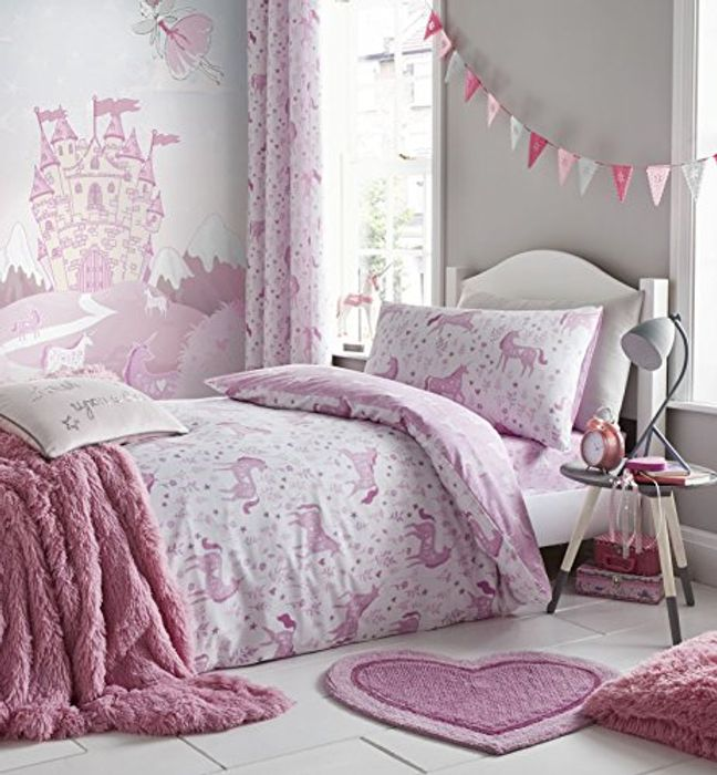 Catherine Lansfield Folk Unicorn Easy Care Single Duvet Set Pink