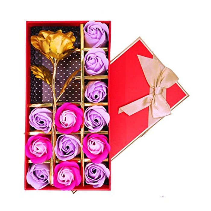 12 Pcs Rose Scented Bath Soap Flowers with One Golden Flower *Good Reviews