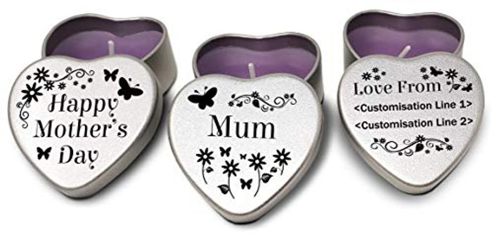 Set of 3 Personalised Mothers Day Candles. Perfect Gift for Mum.