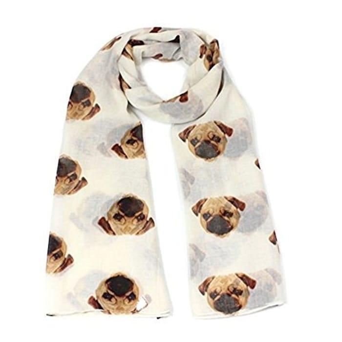 Womens Long Cute Pug Dog Print Scarf Only £2.32