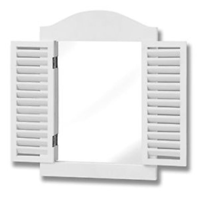 Home Works Shuttered Mirror - White Wall Shutters Shabby Vintage Chic Gift