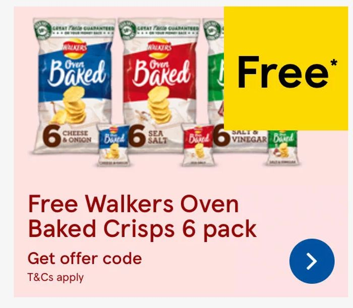 FREE Walkers Baked 6 Pack with Grocery Orders at Tesco