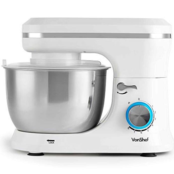 VonShef 1000W Cream Food Stand Mixer - Save £25!