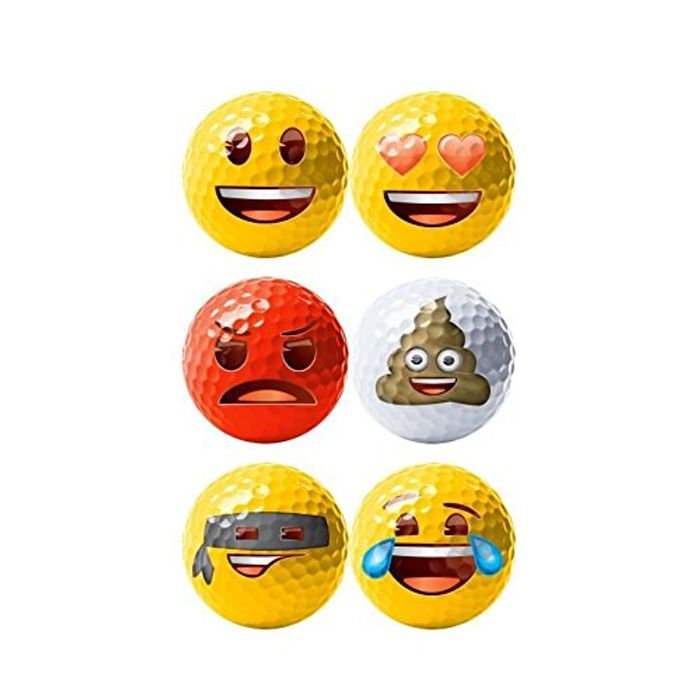 Emoji Official Novelty Fun Golf Balls - 6 Pack - Save 25%