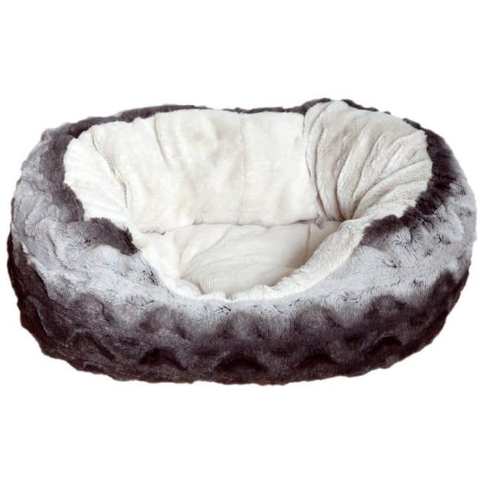 Rosewood Grey and Cream Oval Snuggle Plush Pet Bed - Medium
