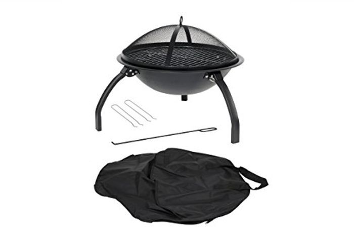 Cheap Camping Firebowl with Grill, Folding Legs and Carry Bag - Black