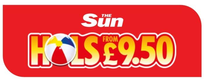 The Sun £9.50pp Holidays CODES