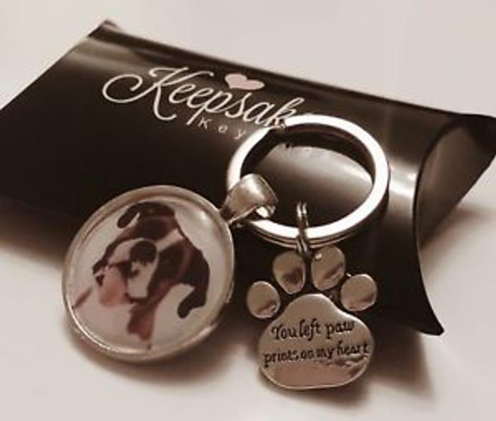 Personalised Photo Keyring Paw Prints Cat Dog Pet Memory Loss